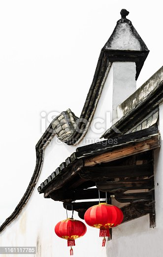 Chinese Red Lantern decorated on Chinese traditional old house