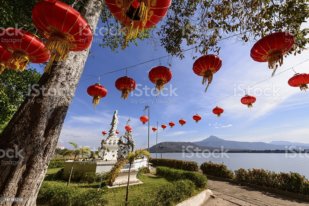 Chinese red lanterns stock photo