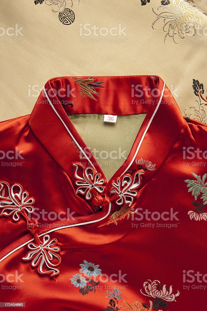 Chinese Red Silk Dress Collar stock photo