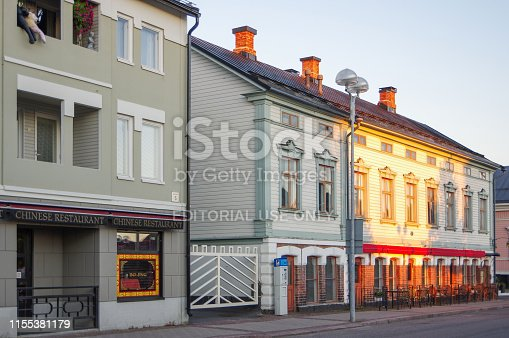 istock Chinese restaurant and residential houses in city center of Oulu 1155381179