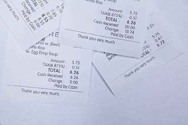 chinese restaurant takeout Receipt stock photo