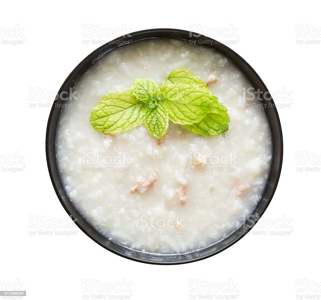 Chinese rice gruel in bowl stock photo