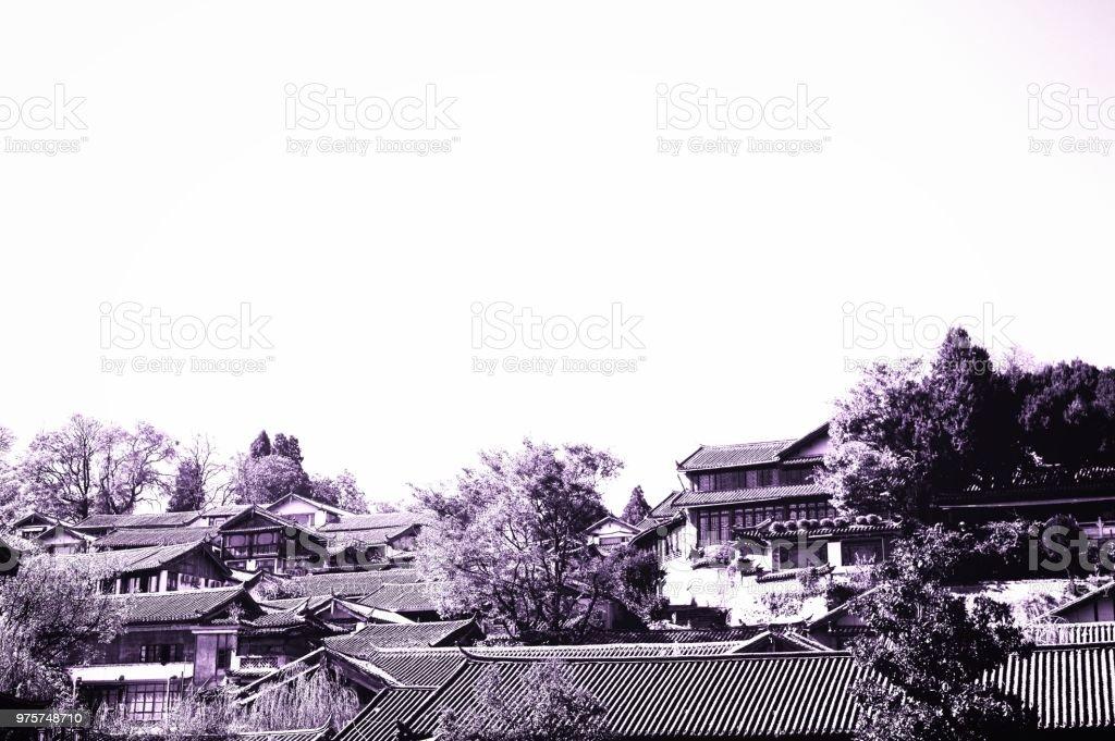 Chinesische Dächer in der Altstadt von Lijiang (Yunnan, China) - Lizenzfrei Architektonisches Detail Stock-Foto