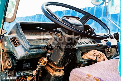 Chinese scrap truck cab closeup