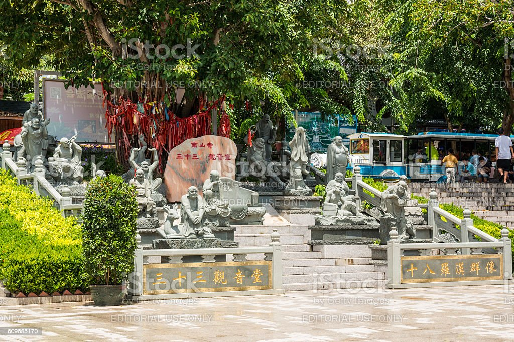 Chinese sculptures in park Nanshan stock photo