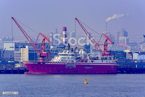 Shanghai: FA XIAN 6, Rolls-Royce designed seismic research vessel by Shanghai Offshore Petroleum Bureau, a part of the Chinese conglomerate Sinopec, berthed at pier in Shanghai.
