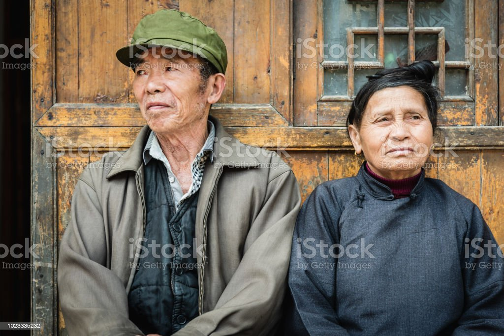 Chinese senior couple at their home China Real People Portrait stock photo