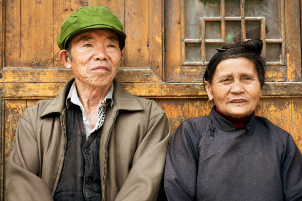 Chinese senior couple at their home in Zhaoxing China stock photo