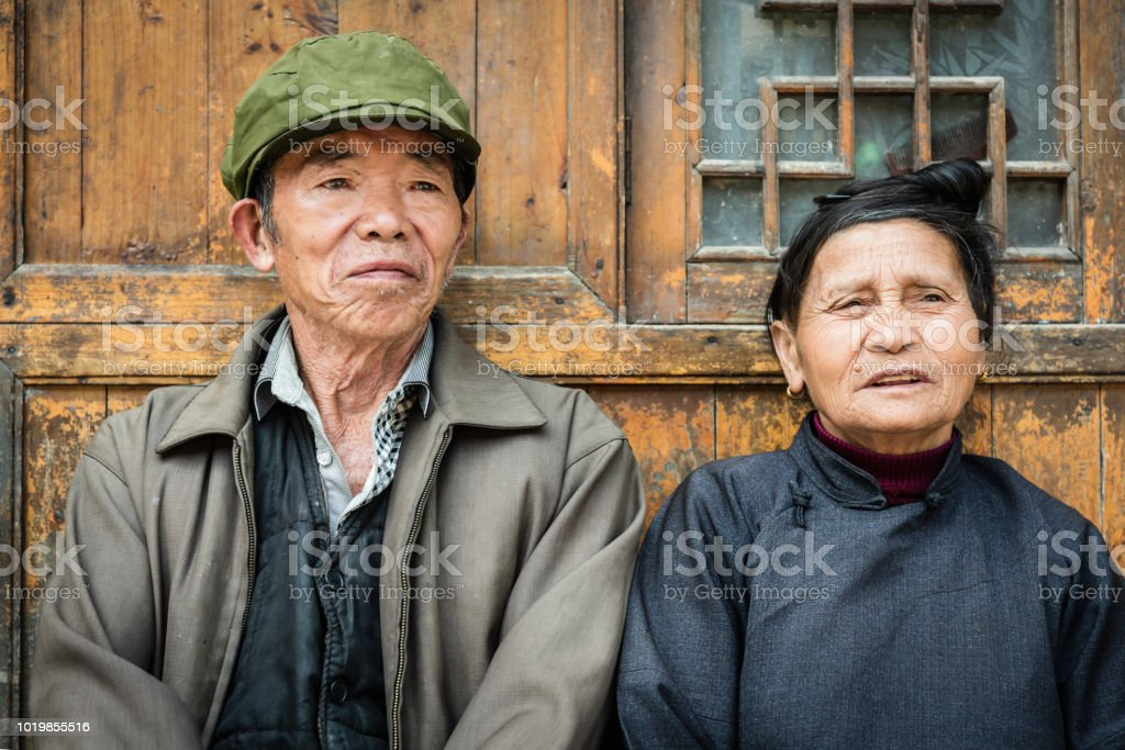 Chinese senior couple at their home in Zhaoxing China Real People Portrait stock photo