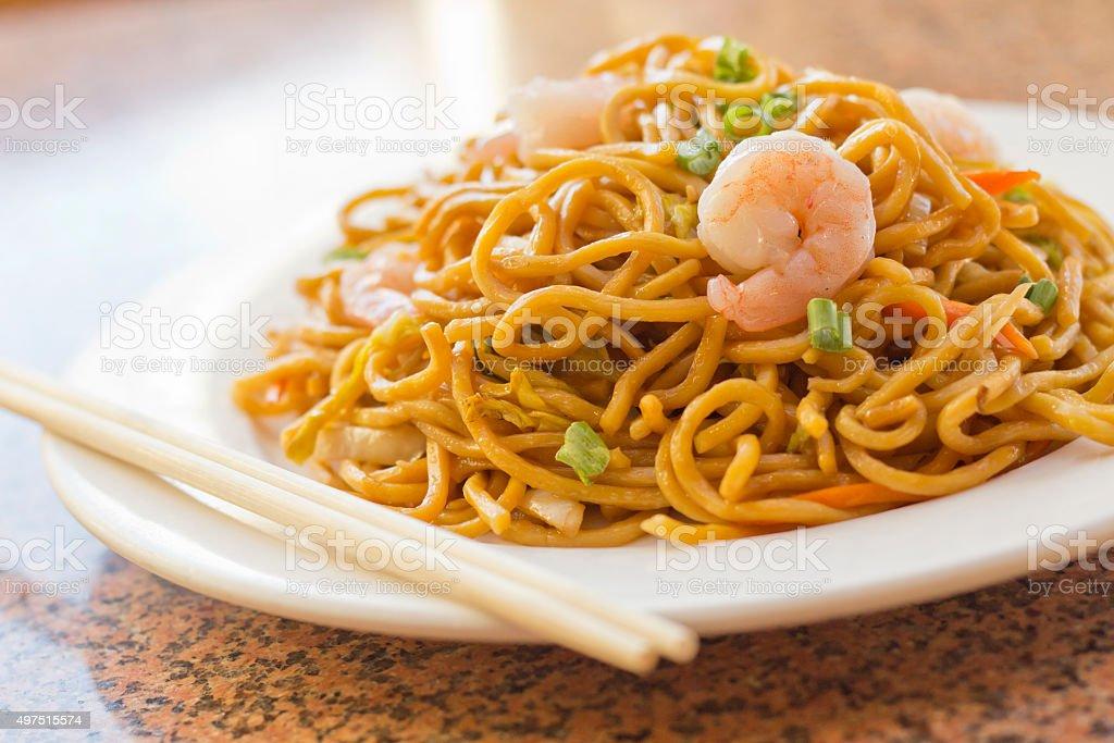 Chinese Shrimp Lo Mein stock photo
