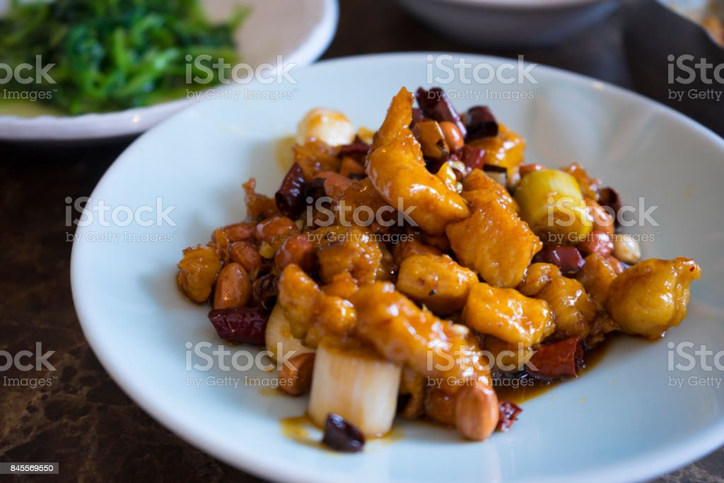 Chinese Sichuan cuisine, Kung Pao Chicken stock photo