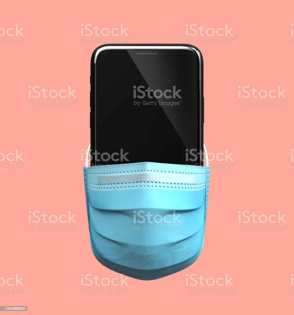 Smartphone chino en máscara médica. Concepto de Cuarentena de Coronavirus. - Foto de stock de Alerta libre de derechos