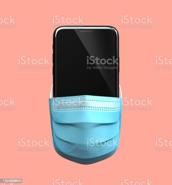 Smartphone Chino En Máscara Médica Concepto De Cuarentena De Coronavirus Foto de stock y más banco de imágenes de Alerta
