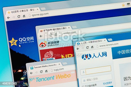 Izmir, Turkey - August 29, 2013: Chinese social media websites Qzone, Sina Weibo, Tencent Weibo and Renren on computer screen.