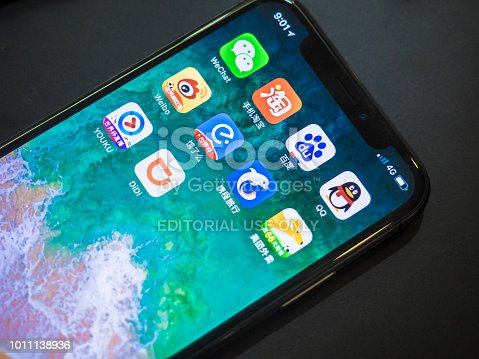 ChengDu China - July 10 2018: Apple iPhone X screen with Chinese Social Media and the rise of WeChat from Tencent with some other most famous in China 2018 mobile app on a smart phone.These companies are all in the market for more than ten billion dollars.