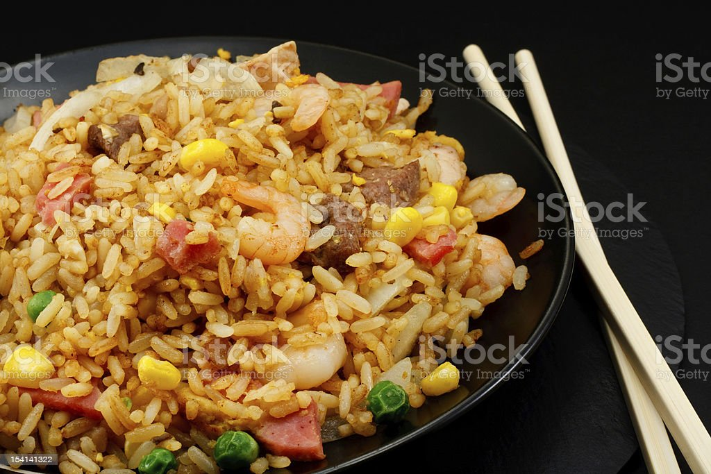 Chinese special fried rice takeaway food stock photo