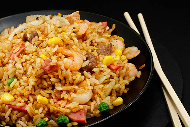 Chinese special fried rice takeaway food A plate of oriental food Special fried rice fried rice stock pictures, royalty-free photos & images