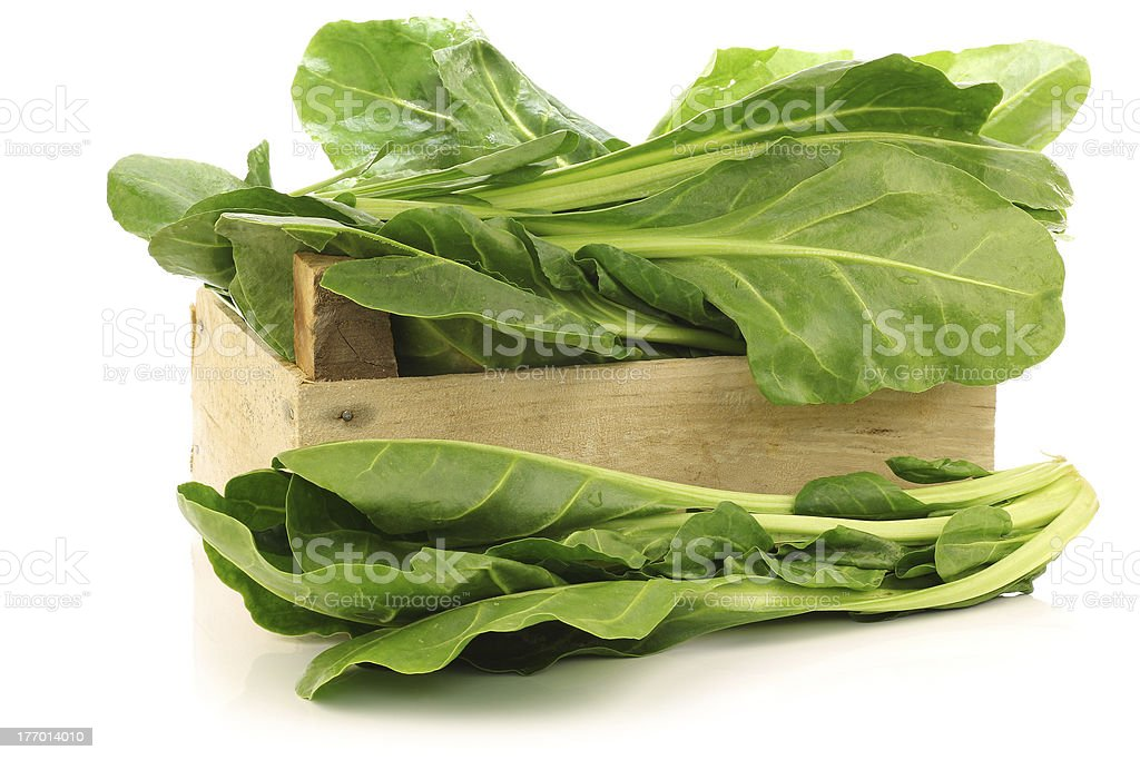 chinese spinach (Ipomoea aquatica) in a wooden crate stock photo