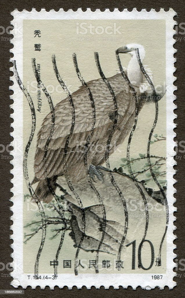 Chinese stamps: birds of prey series - vulture royalty-free stock photo