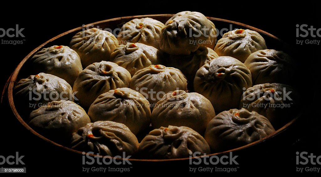 Chinese steamed buns stock photo