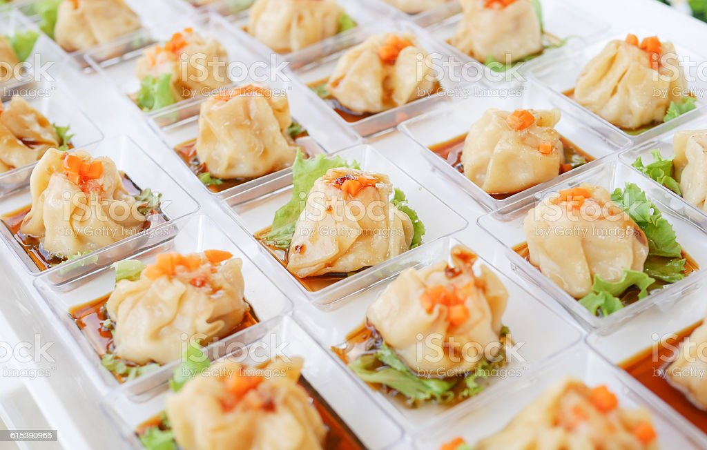 Chinese Steamed Dimsum Cocktail in The Wedding Day. stock photo