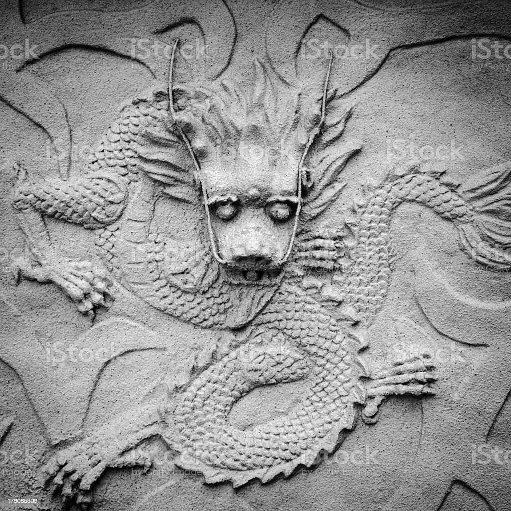chinese stone dragon statue royalty-free stock photo