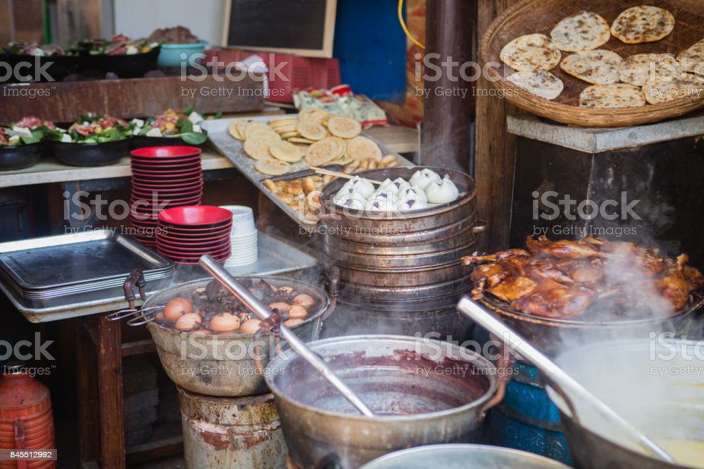 Chinese street food in Huangshan stock photo