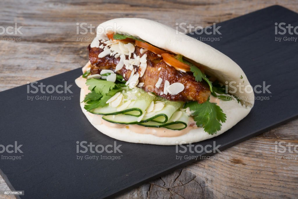 Chinese street food stuffed wrap stock photo