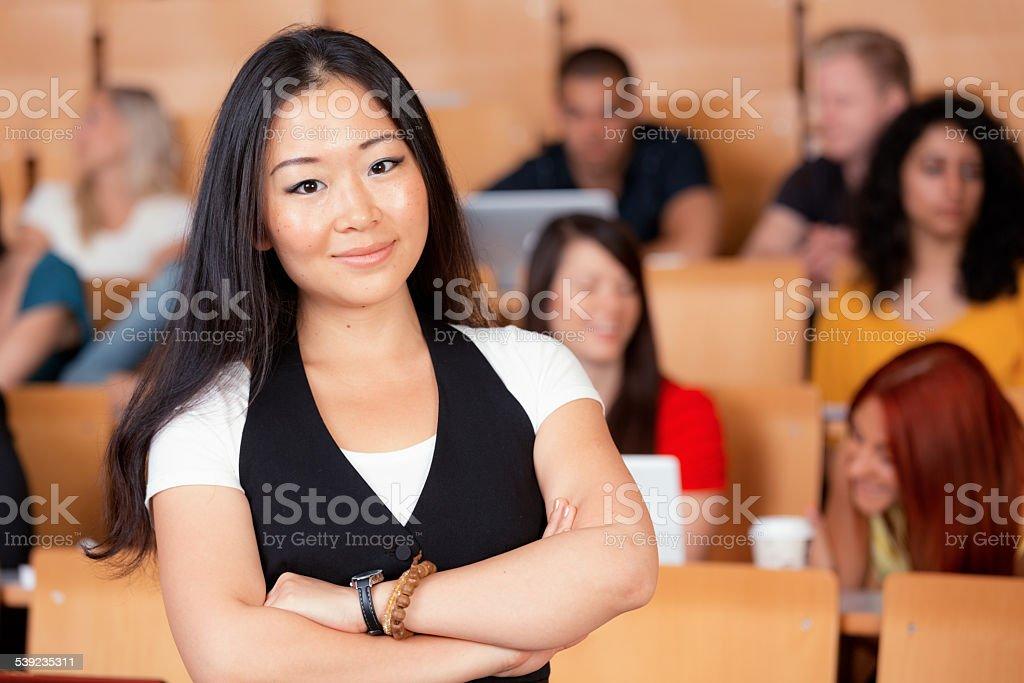 China estudiante en auditorio foto de stock libre de derechos