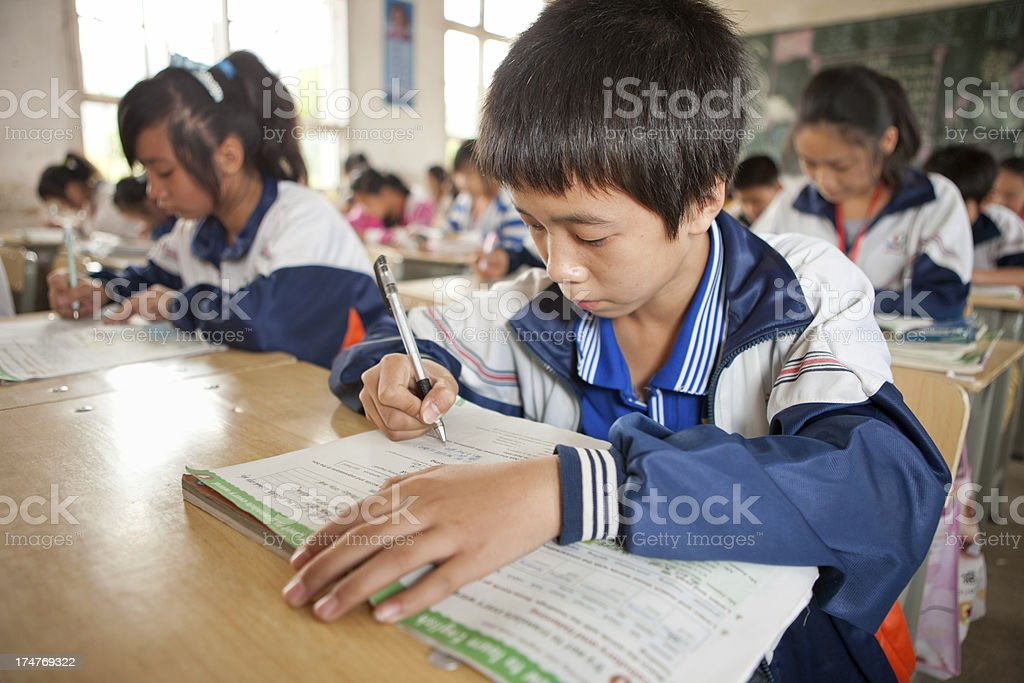 Chinese students at secondary school royalty-free stock photo