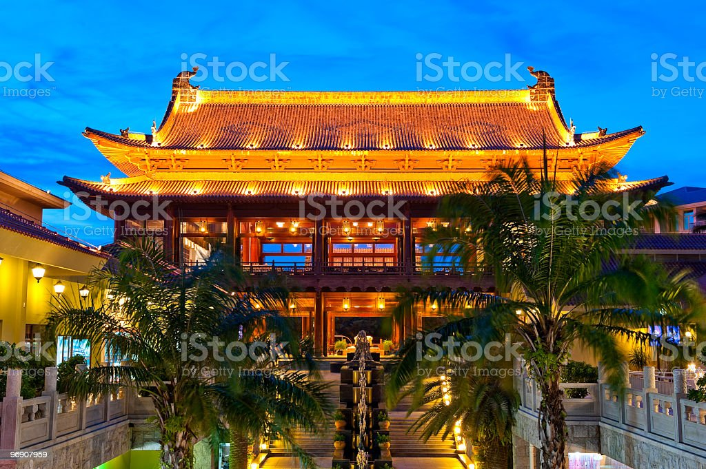 Chinese style building after sunset royalty-free stock photo