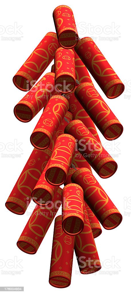 Chinese style firecrackers isolated on white royalty-free stock photo