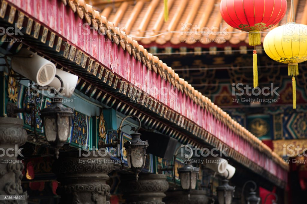 Chinese style temple roof in two layers stock photo