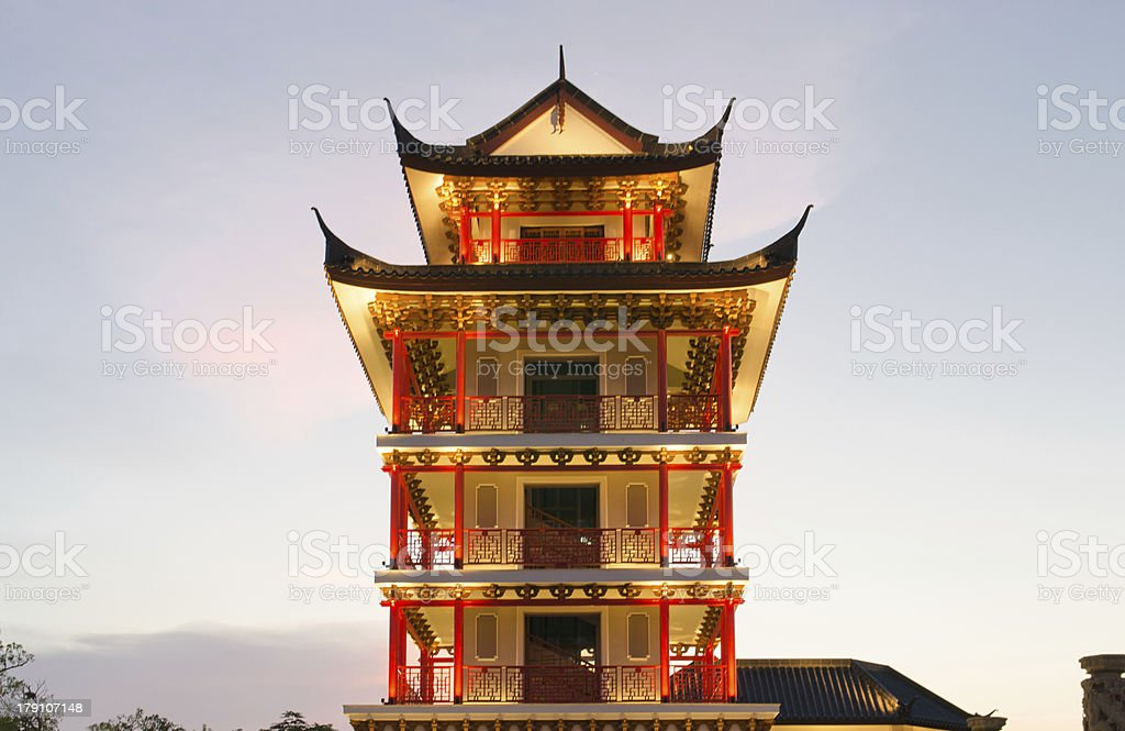 Chinese style tower on  sunset background stock photo