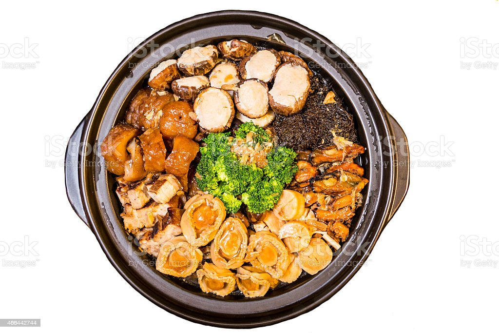 Chinese styled Abalone mixed dish. Also known as 'Poon Choy' stock photo