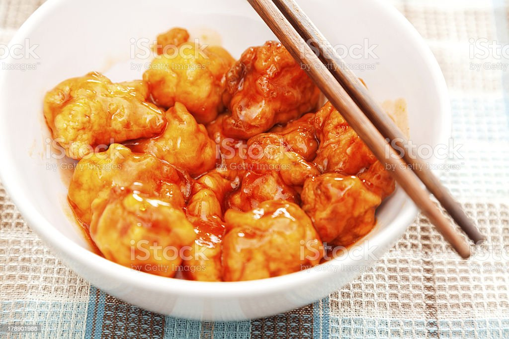 Chinese Sweet and Sour Chicken royalty-free stock photo