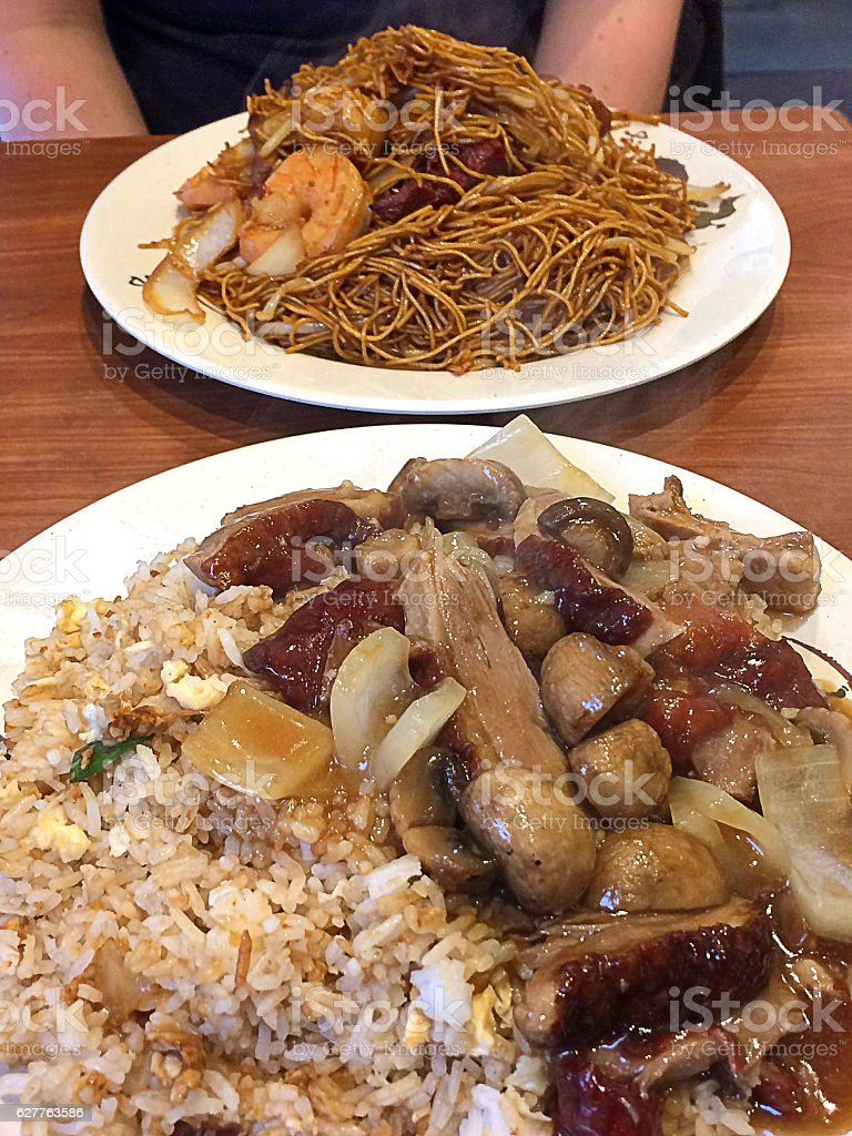 Chinese Take away - Roasted Duck with egg fried rice stock photo