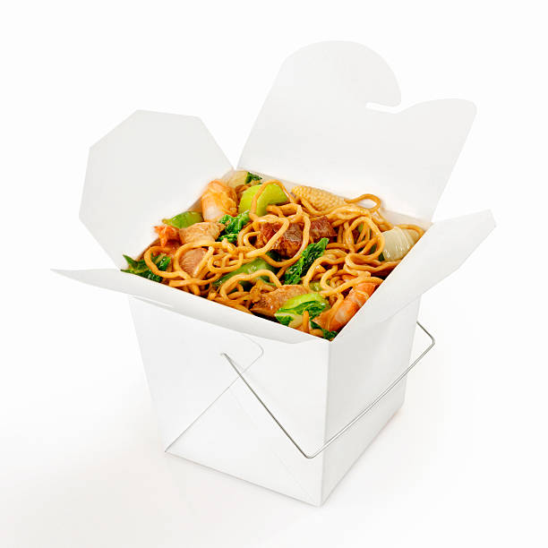 Chinese Take Out, Chow Mein Chow Mein Noodles with Shrimp, beef, pork and Chicken -Photographed on Hasselblad H3D2-39mb Camera  chinese takeout stock pictures, royalty-free photos & images