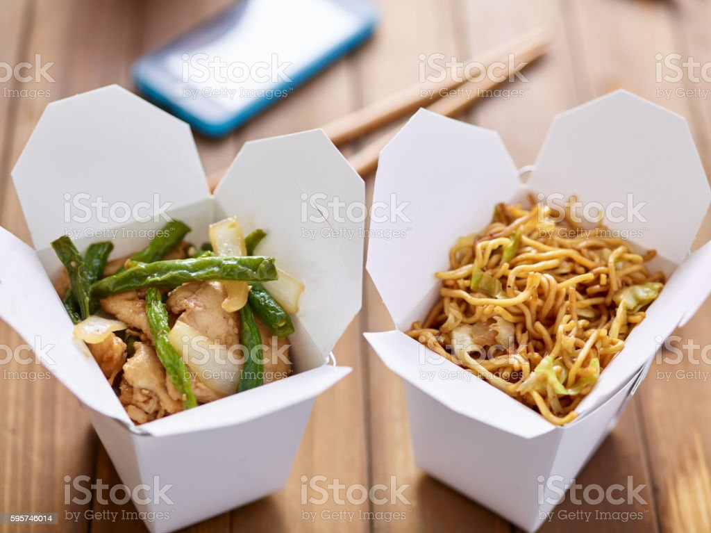chinese take out food in boxes close stock photo