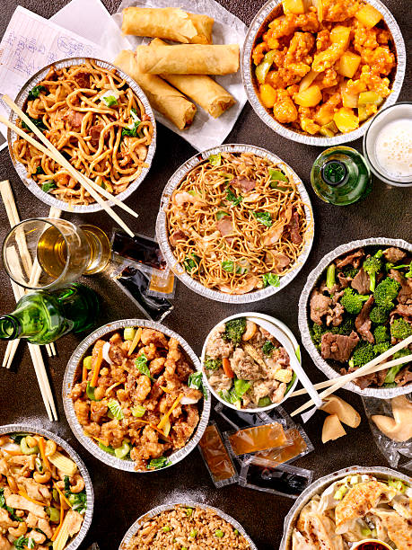 chinese take out - chinese food stock photos and pictures