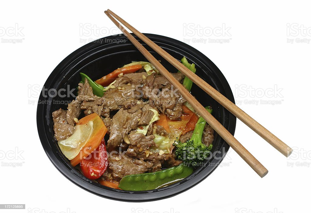 chinese takeout:  beef stir fry stock photo
