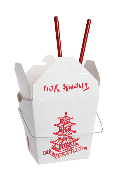 chinese takeout food container (isolated) - chinese food stock photos and pictures