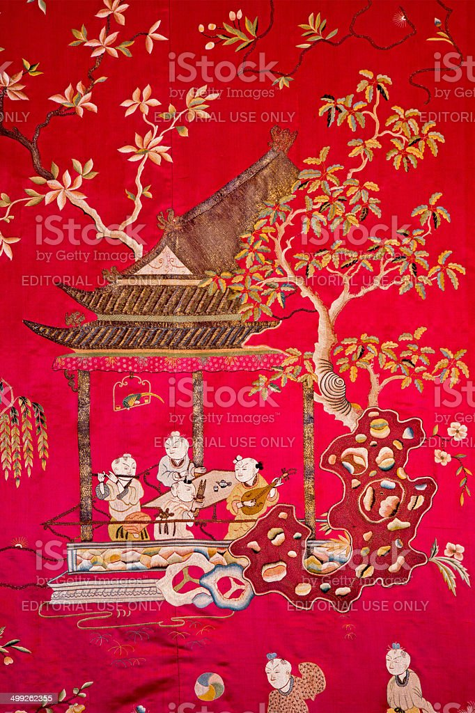 Chinese tapestry in palace Saint Anton - Slovakia royalty-free stock photo