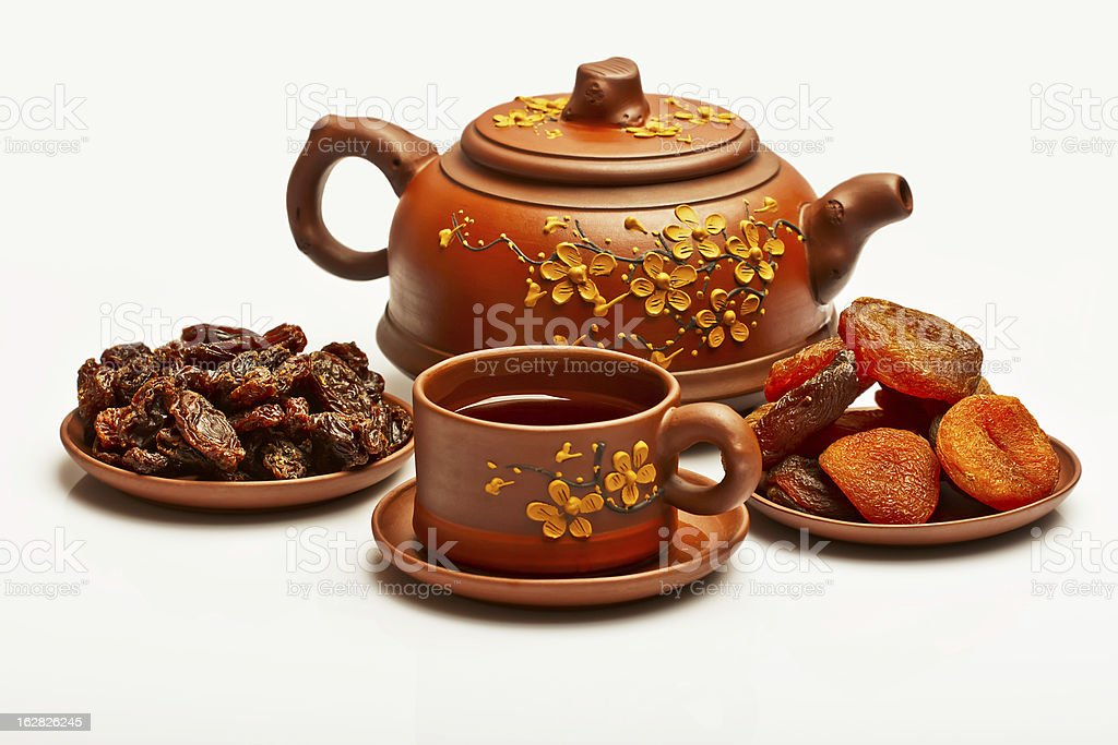 Chinese tea, and dried fruits. royalty-free stock photo