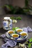 Chinese tea and tea set on the table