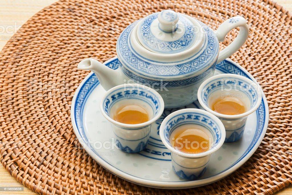 Chinese tea and tea set stock photo