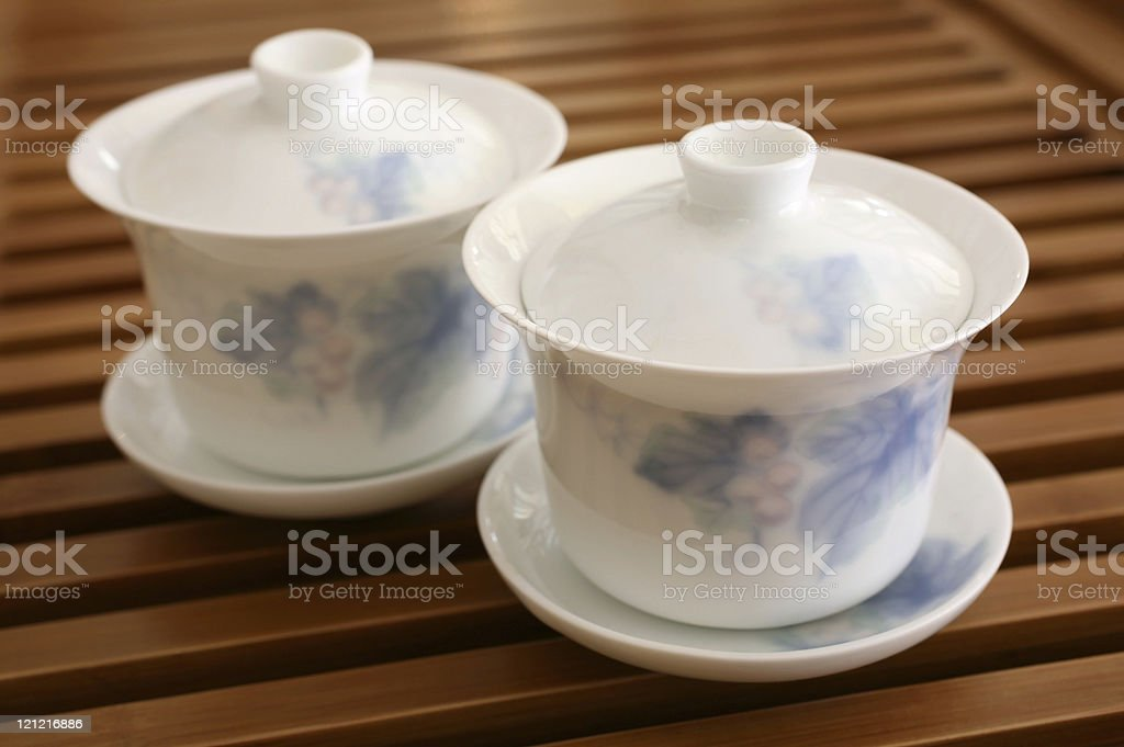 Chinese Tea Cups on Wooden Rack stock photo