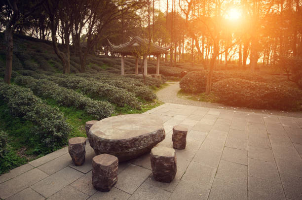 Chinese tea garden Chinese garden at sunset taoism stock pictures, royalty-free photos & images