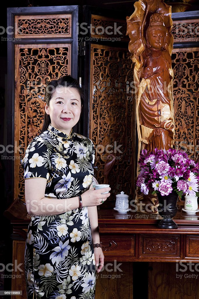 Chinese tea lady, traditionally dressed royalty-free stock photo