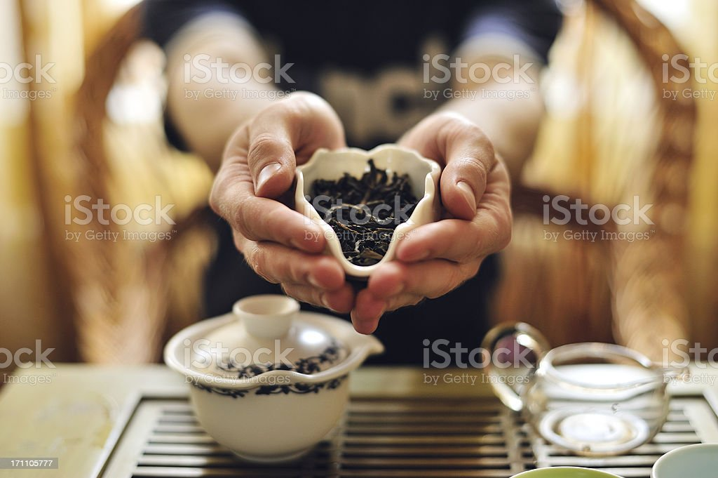 Chinese tea leaves stock photo